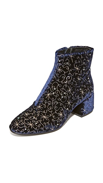 Ash Diamond Bis Embroidered Booties - Midnight