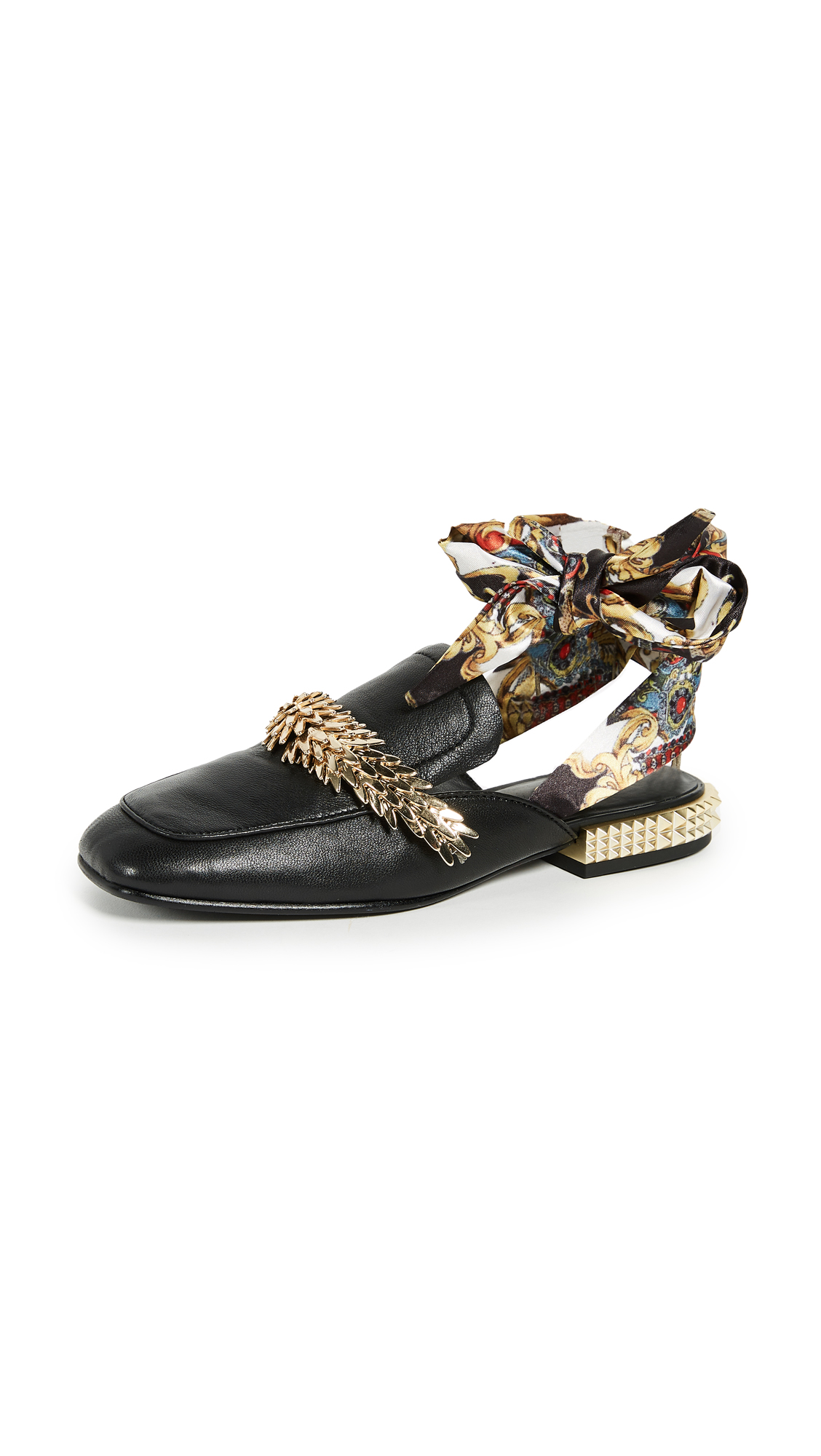 Ash Elite Scarf Mules - Black/Gold