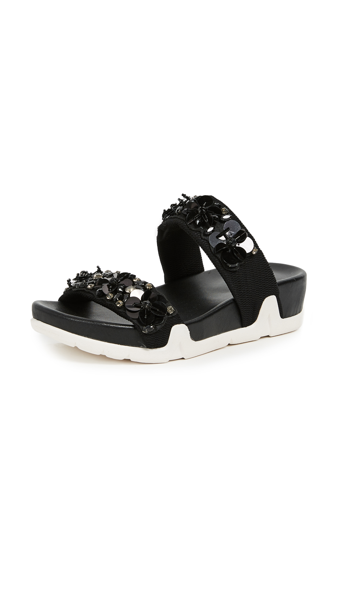 Ash Oman Flowers Sandals - Black/Black