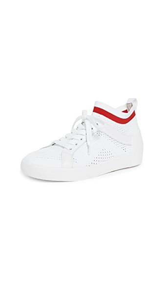 Nolita Knit Mesh Lace-Up Sneakers, White/Red
