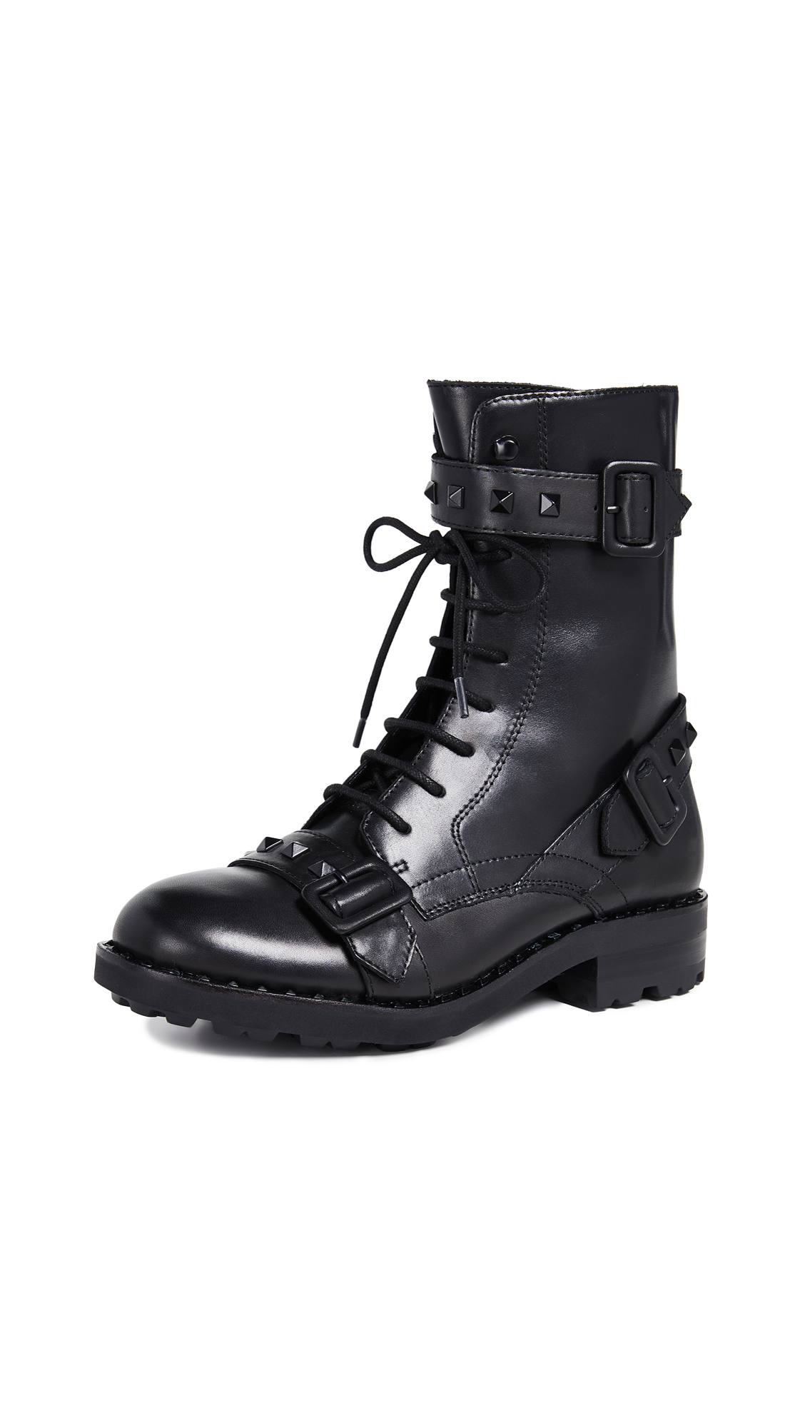 Ash Witch Combat Boots - Black/Black