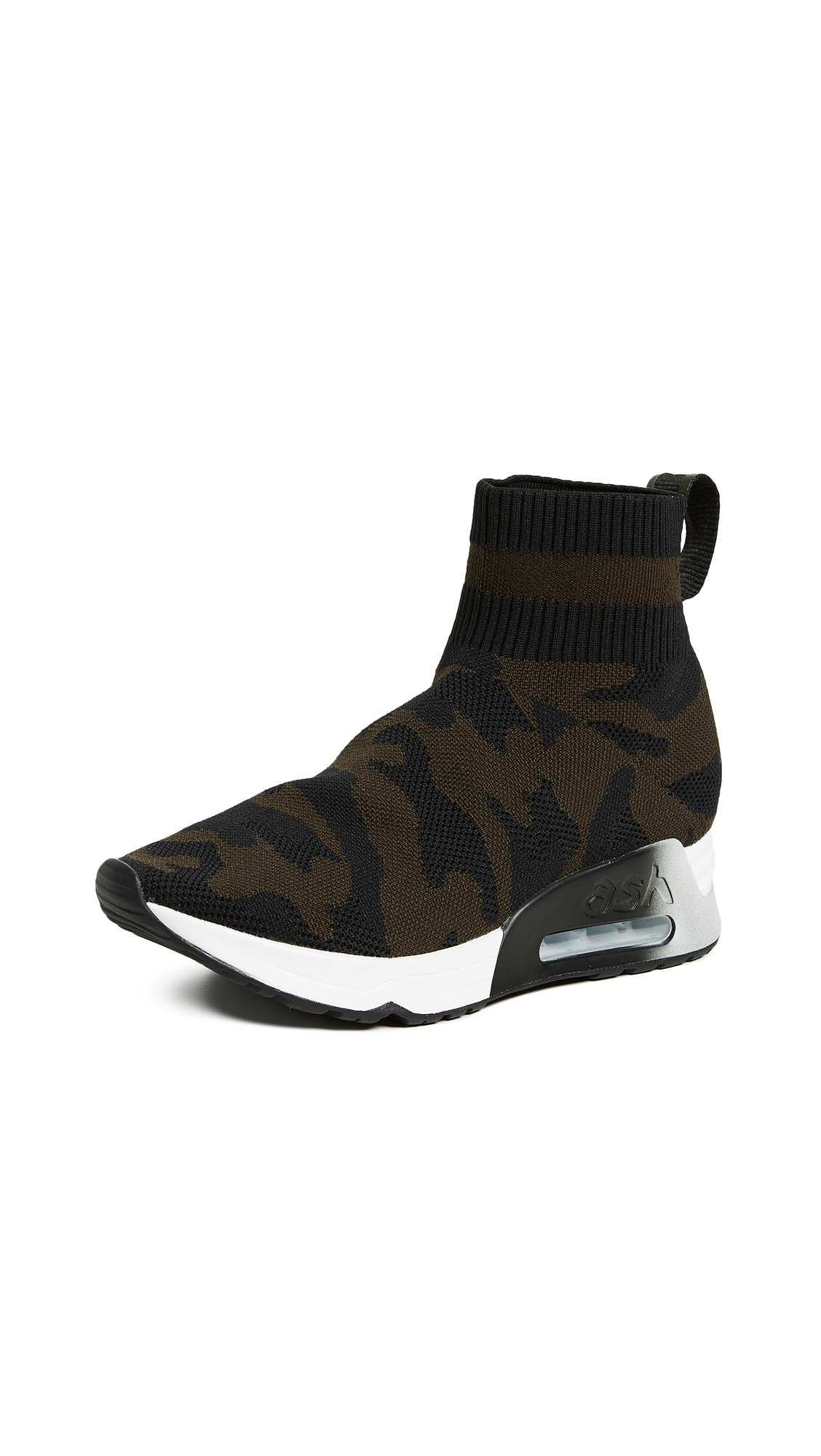 Ash Lulu Camo Knit Runner Sneakers - Black/Military