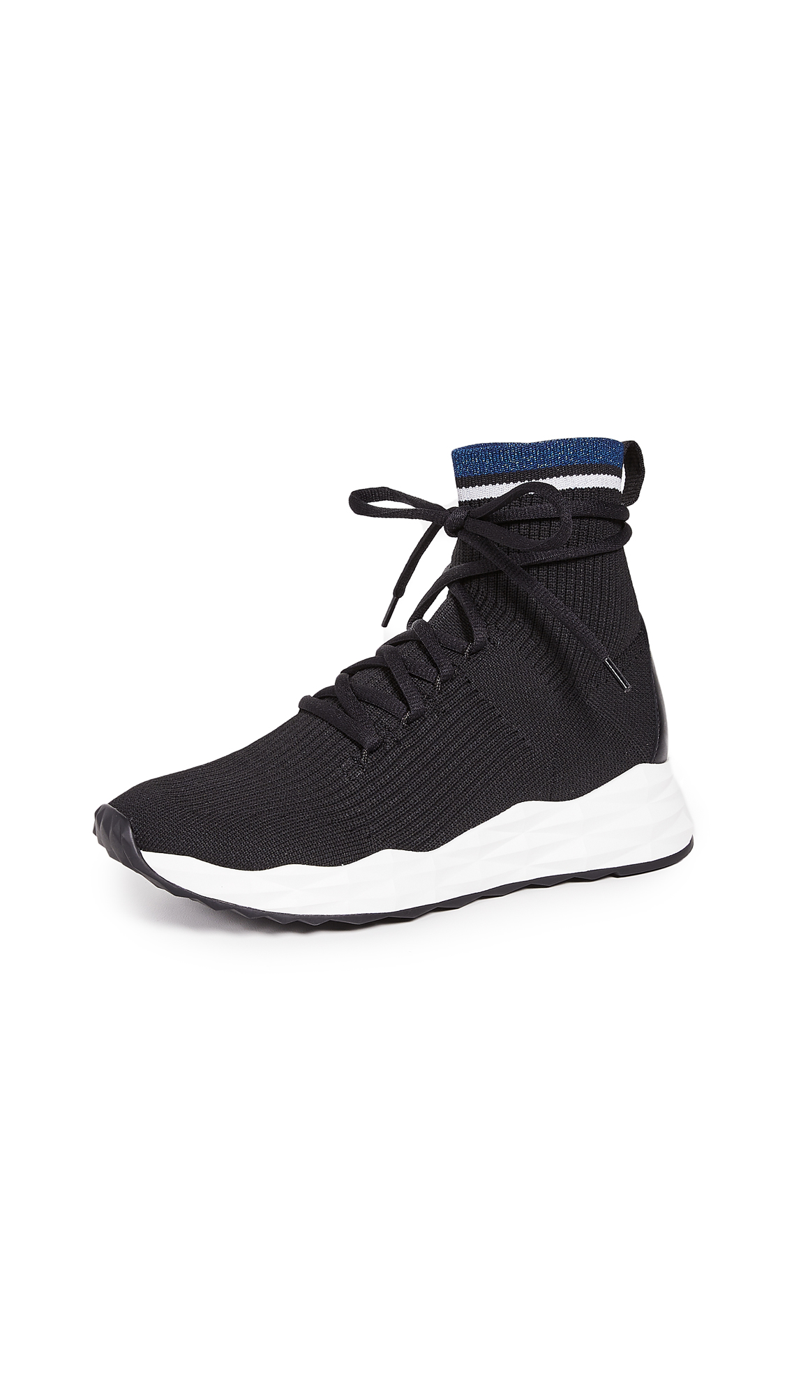 Ash Sense Knit Runner Sneakers - Black/Silver/Blue/Black