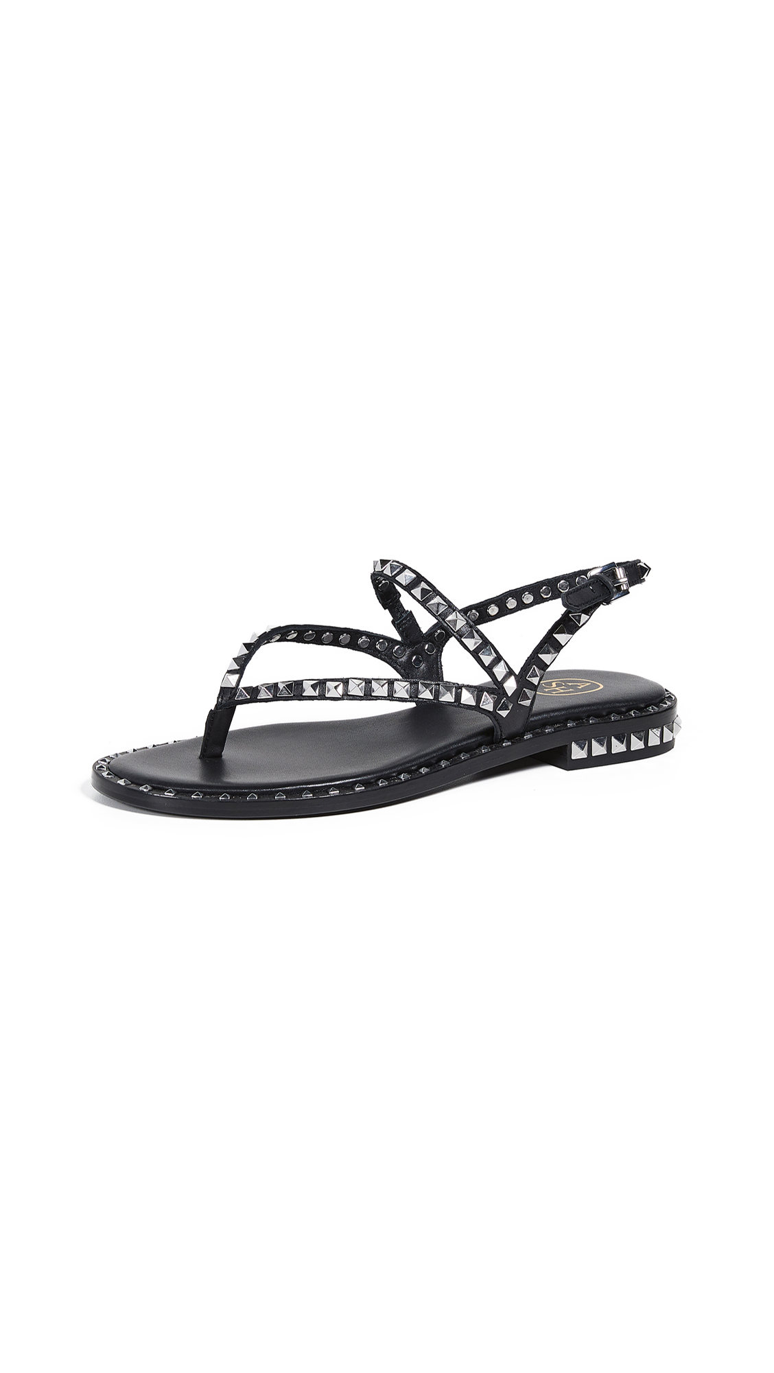Ash Peps Thong Sandals - Black/Silver Studs