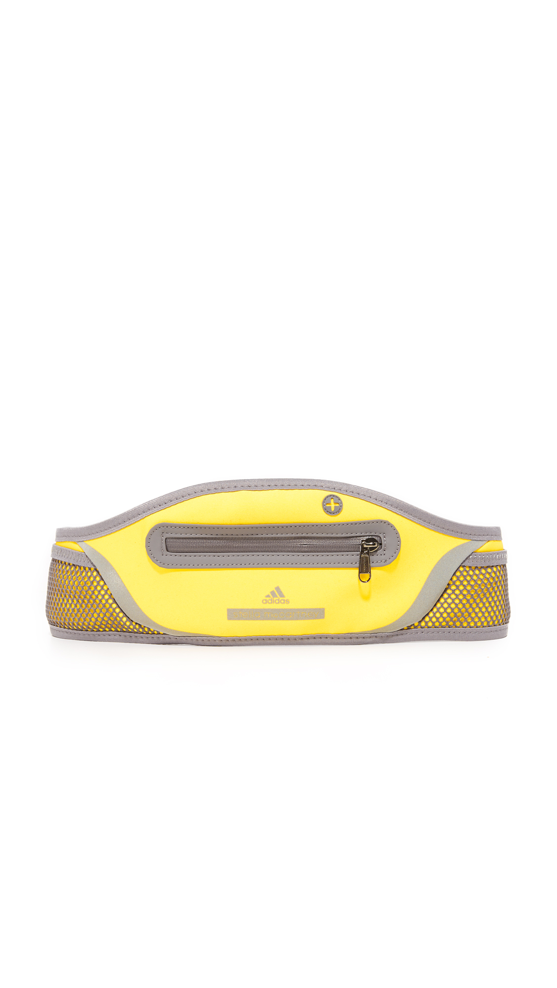 A performance ready adidas by Stella McCartney belt with a neoprene zip pouch and a pass through headphone port. Adjustable elastic belt with buckle closure. Imported, China. Measurements Width: 5in / 13cm Length: 33 35.5in / 84 90cm. Available sizes:
