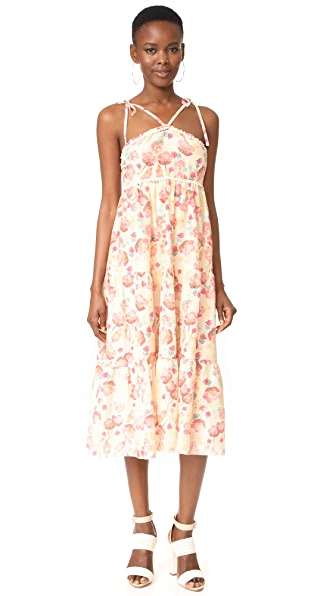Athena Procopiou Poppy in Love Tiered Dress with V Straps In Beige/Mix