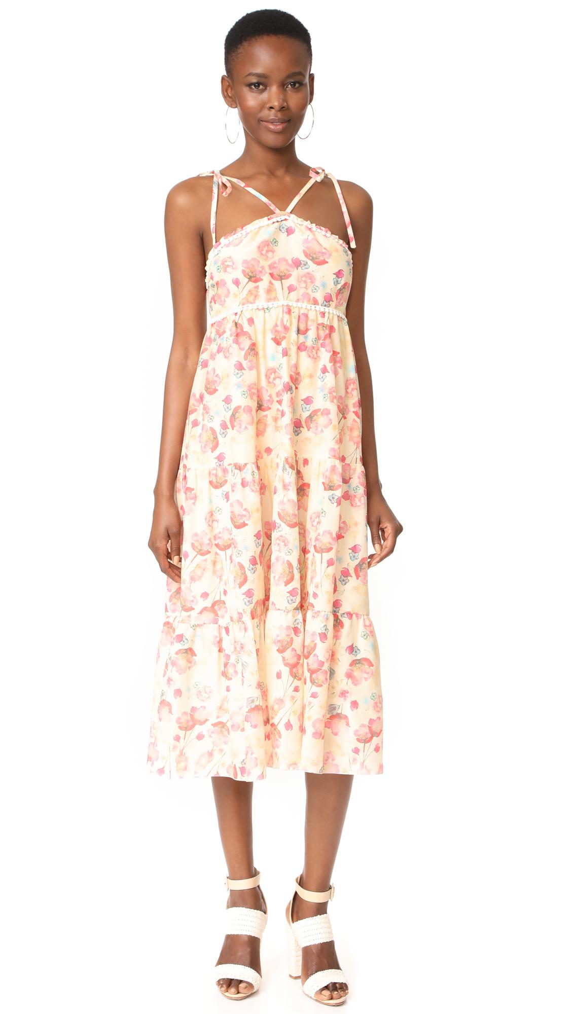 Athena Procopiou Poppy in Love Tiered Dress with V Straps - Beige/Mix