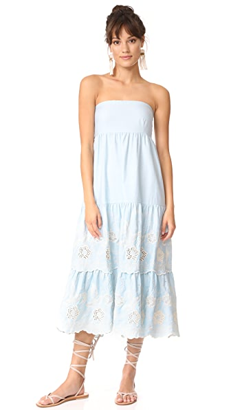 Athena Procopiou Gypset Blue Strapless Dress with Bow - Light Blue Embroidery