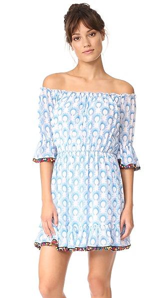 Athena Procopiou Cotton Breeze Short Dress with Pompoms In Blue/White
