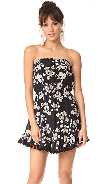 Athena Procopiou Wild Grace Short Strapless Dress with Pom Poms