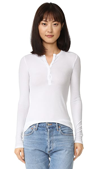 ATM Anthony Thomas Melillo 2x1 Rib Henley - White