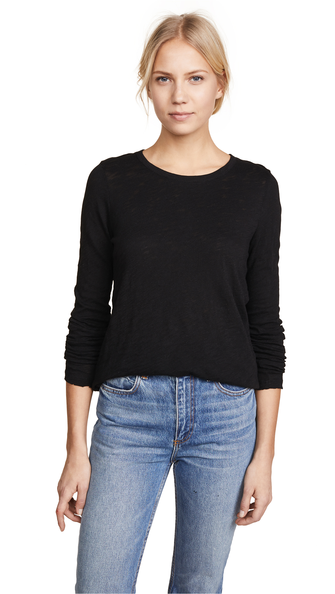 ATM Anthony Thomas Melillo Long Sleeve Destroyed Tee In Black
