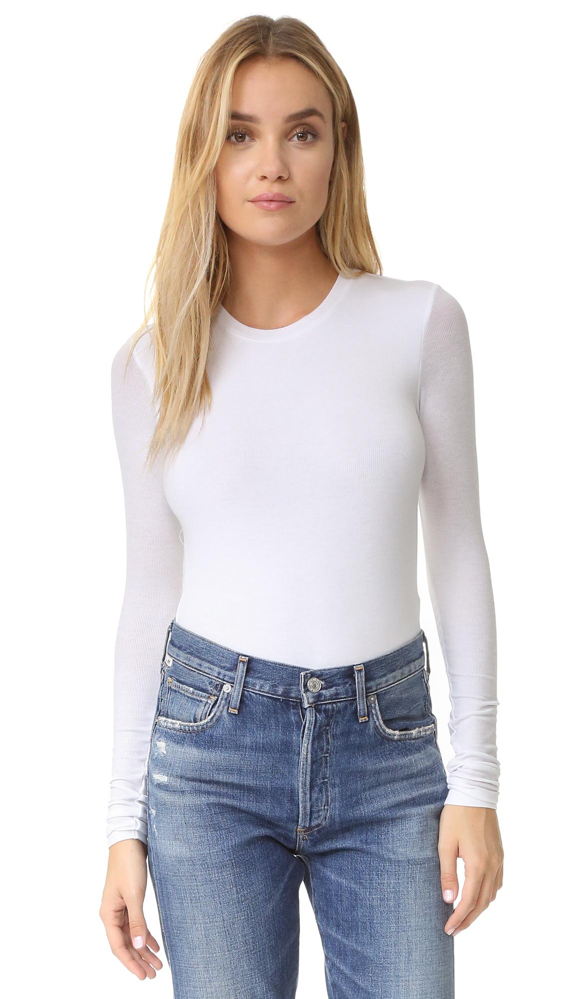 ATM Anthony Thomas Melillo Long Sleeve Bodysuit - White