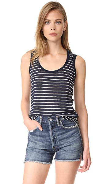 ATM Anthony Thomas Melillo Linen Jersey Sweetheart Tank - Midnight/White Stripe