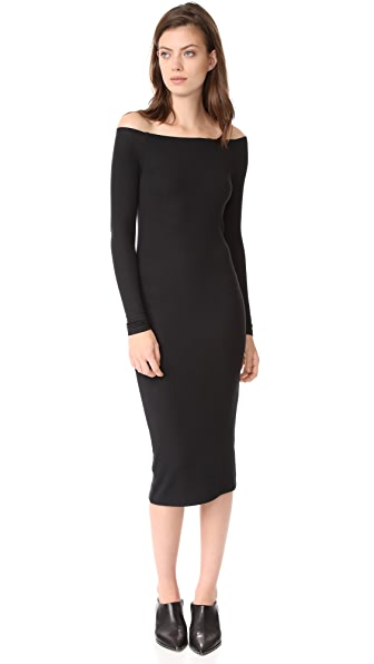 ATM Anthony Thomas Melillo Modal Rib Off the Shoulder Dress - Black