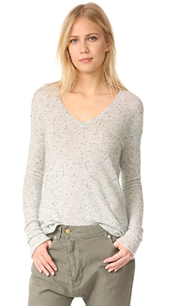 ATM Anthony Thomas Melillo Cashmere Donegal V Neck Sweater In Marble Donegal