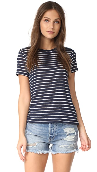 ATM Anthony Thomas Melillo Linen Jersey School Boy Crew Tee - Midnight/White Stripe