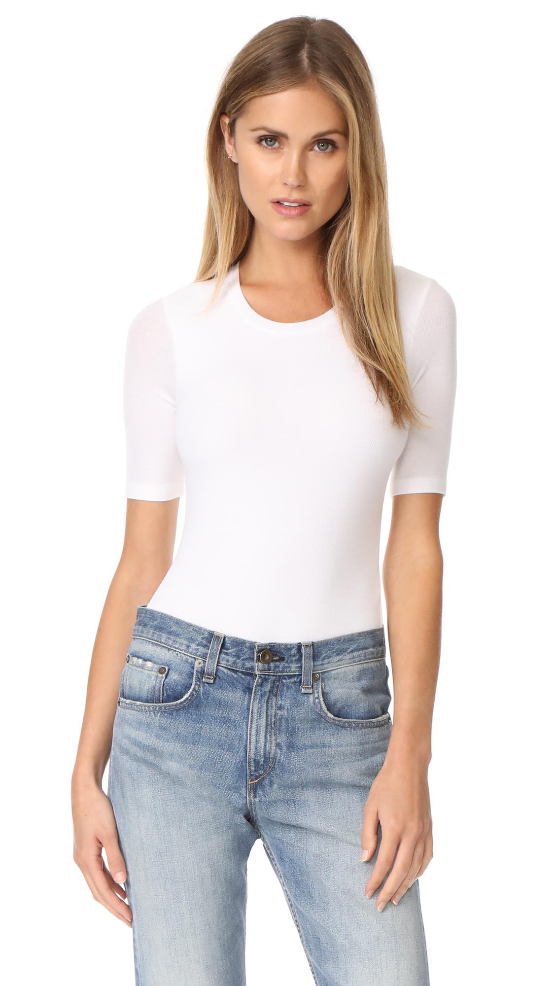 ATM Anthony Thomas Melillo Modal Rib Short Sleeve Bodysuit - White