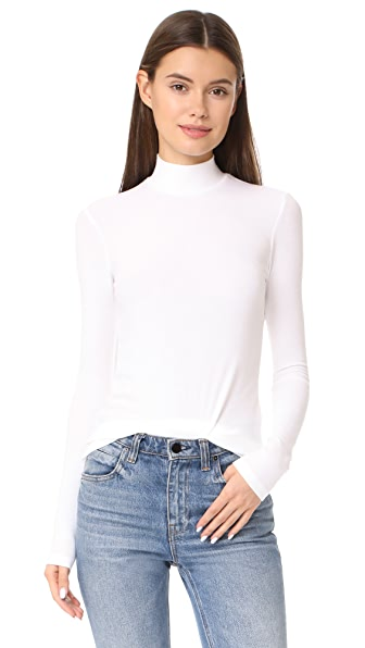ATM Anthony Thomas Melillo Long Sleeve Mock Neck Top In White