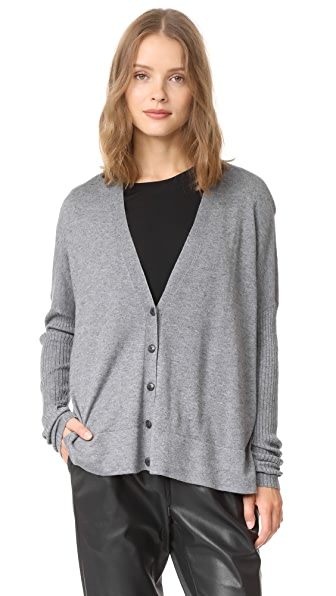 ATM Anthony Thomas Melillo Modal Blend V Neck Cardigan In Cement