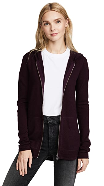 ATM Anthony Thomas Melillo Zip Front Hoodie In Merlot