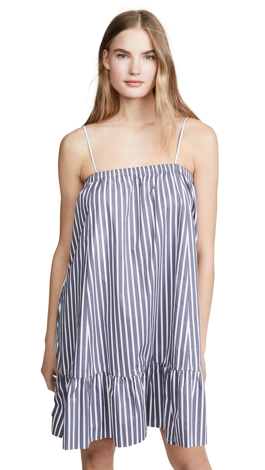 ATM Anthony Thomas Melillo Cotton Poplin Stripe Tent Dress - Marina/White Stripe