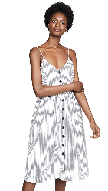 ATM Anthony Thomas Melillo Linen Cotton Striped Button Front Tank Dress