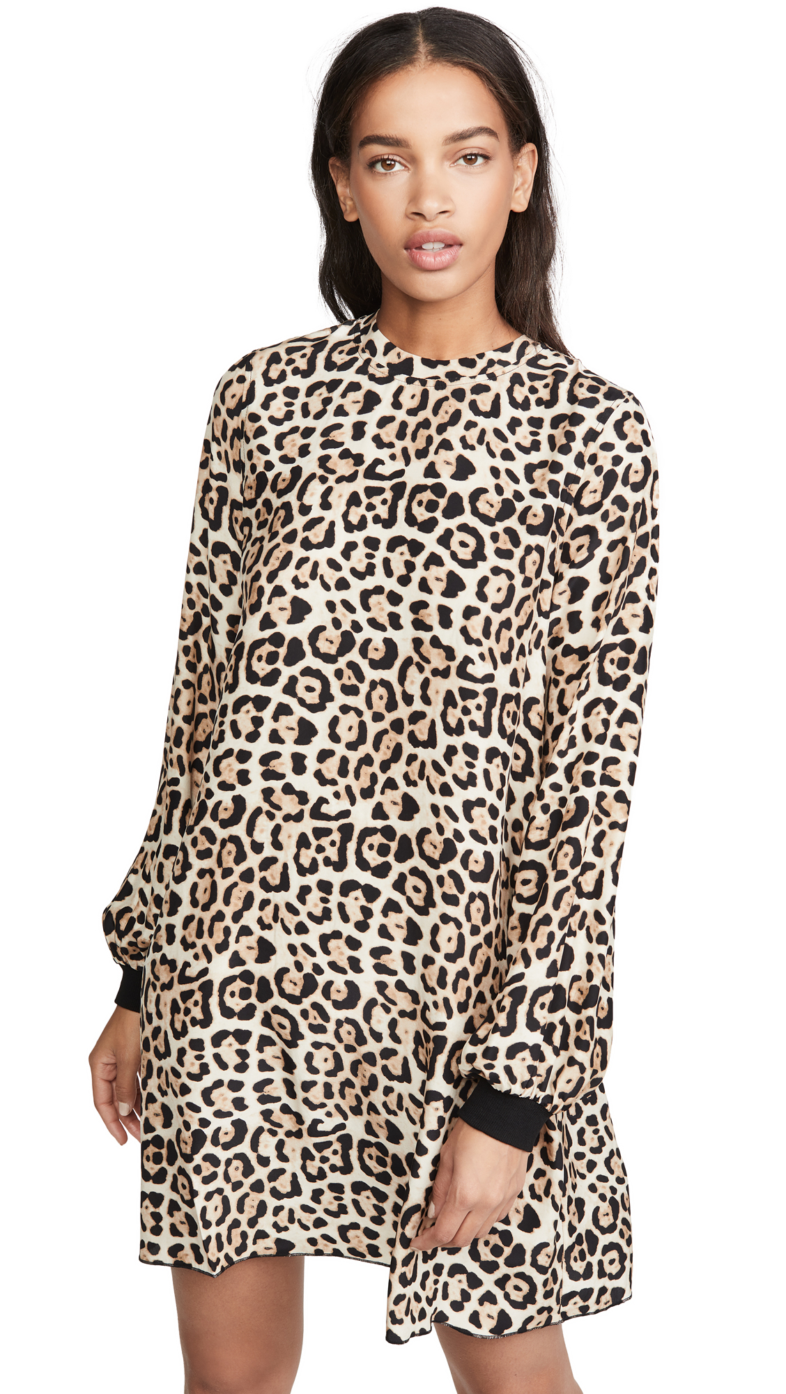 Buy ATM Anthony Thomas Melillo online - photo of ATM Anthony Thomas Melillo Leopard Print Bishop Sleeve Mini Dress