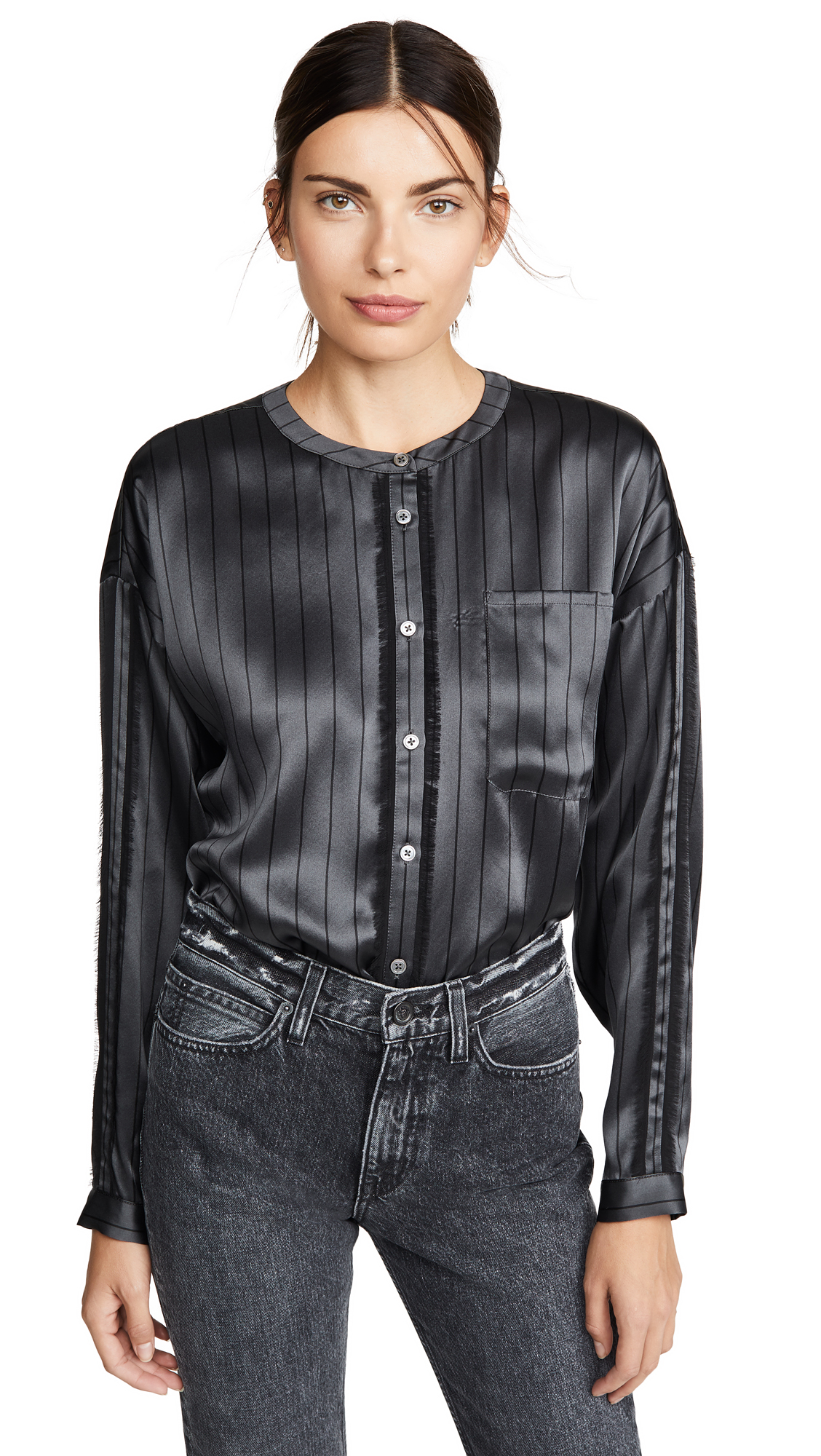Buy ATM Anthony Thomas Melillo online - photo of ATM Anthony Thomas Melillo Silk Striped Shirt