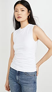 ATM Anthony Thomas Melillo Pima Cotton Ruched Sleeveless Top
