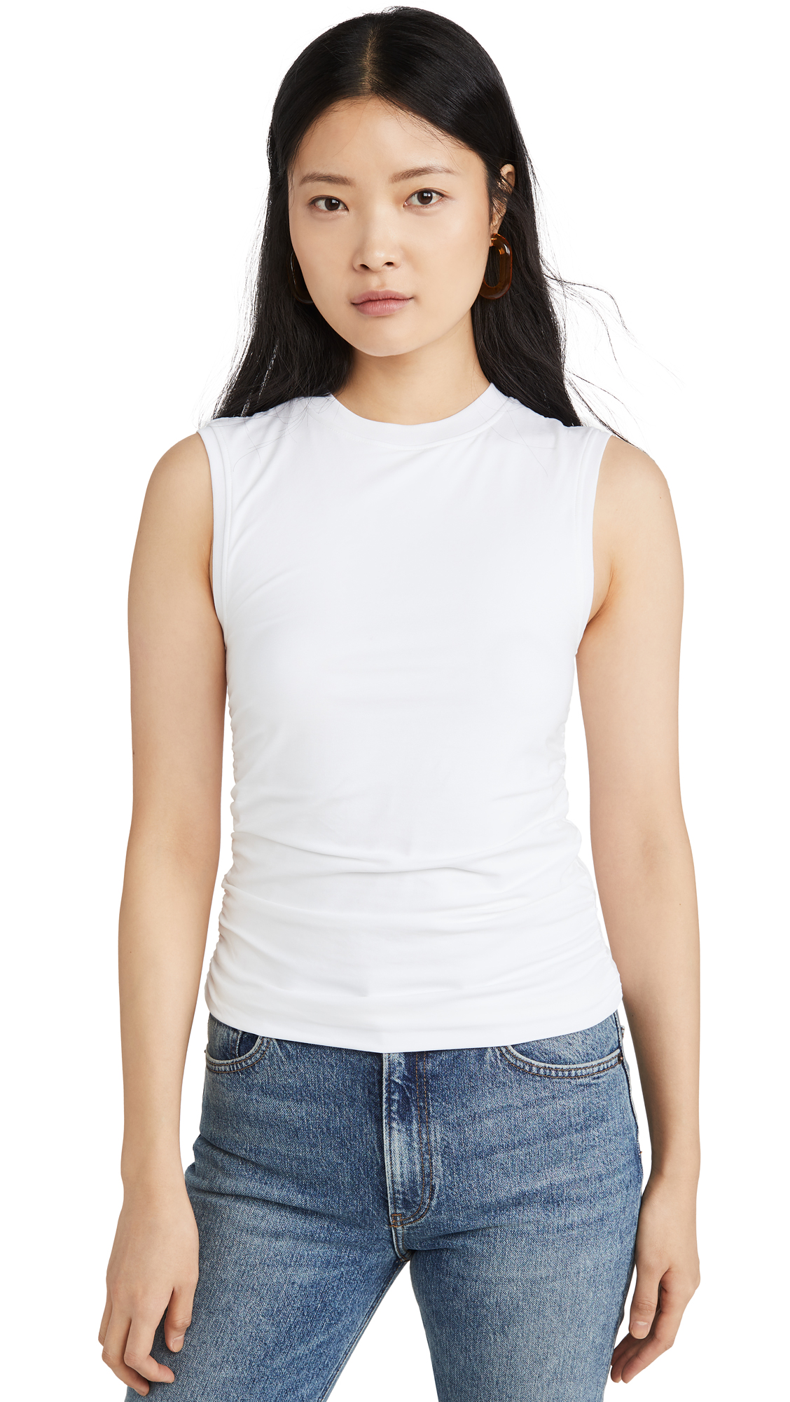 Buy ATM Anthony Thomas Melillo online - photo of ATM Anthony Thomas Melillo Pima Cotton Ruched Sleeveless Top