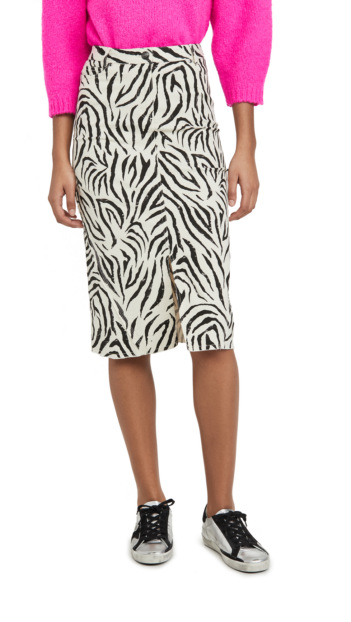 Buy ATM Anthony Thomas Melillo online - photo of ATM Anthony Thomas Melillo Zebra Print Denim Skirt