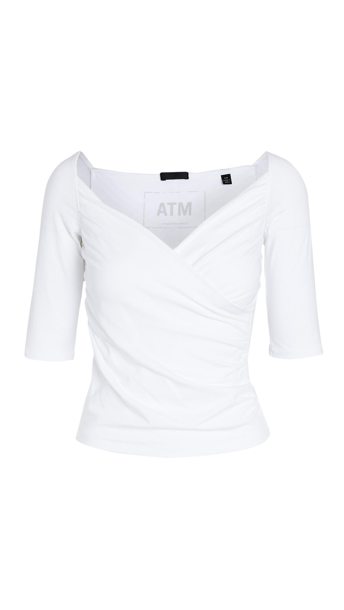 ATM Anthony Thomas Melillo Crossover Elbow Sleeve Cami Top