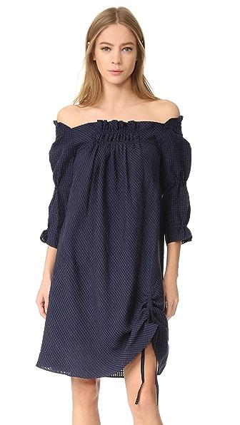 Amelia Toro A-Line Loose Fit Princess Dress - Blue Stripe