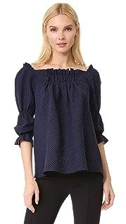 Amelia Toro Свободная расклешенная блуза с открытыми плечами