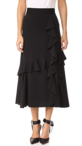 Amelia Toro Ruffle Wrap Midi Skirt In Black