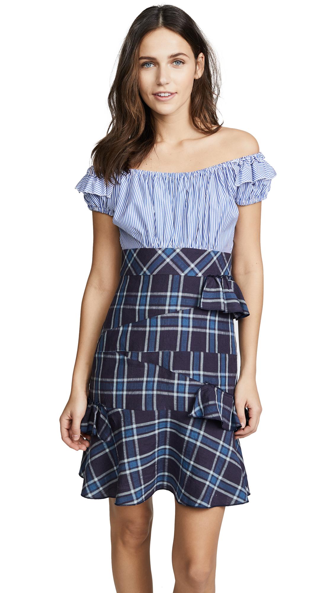 Amelia Toro OTS Ruffle Dress In Stripe Blue/Plaid Blue