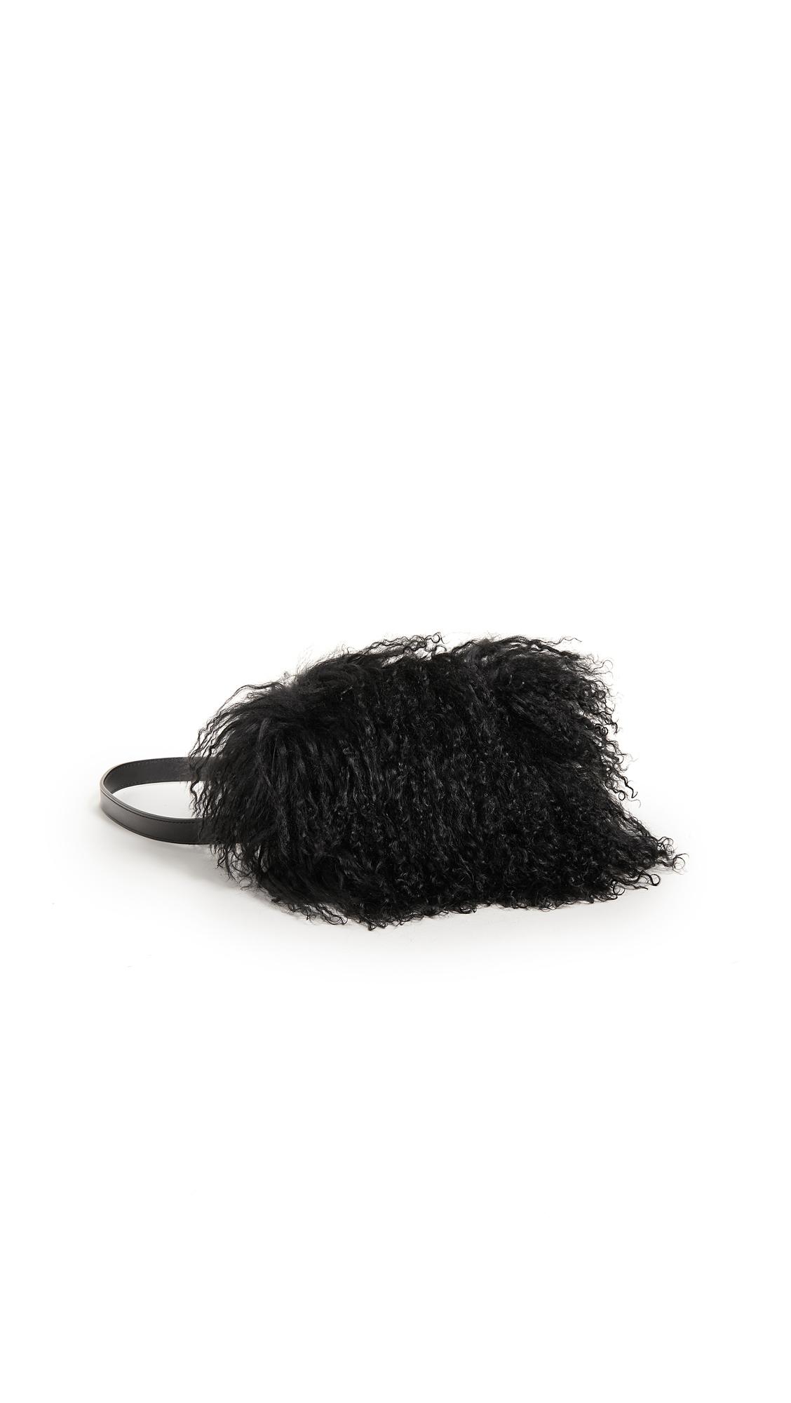 AVEC LA TROUPE Hendrix Shearling Belt Bag in Black