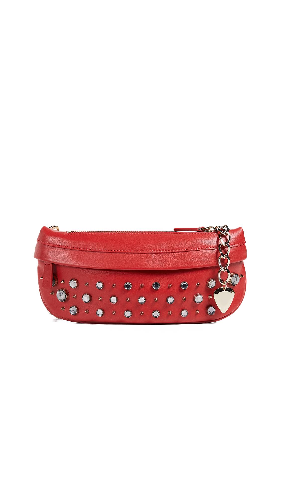 AVEC LA TROUPE Crystal & Stud Troupe Belt Bag in Red