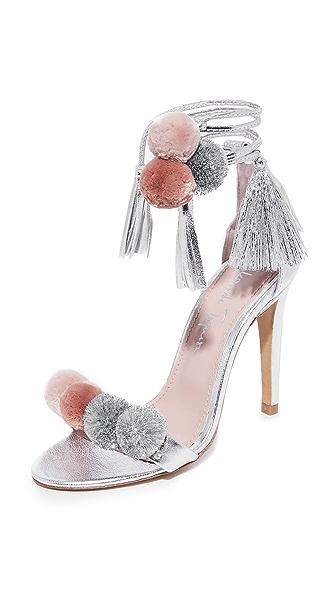 Alameda Turquesa Anna Pom Pom Wrap Sandals