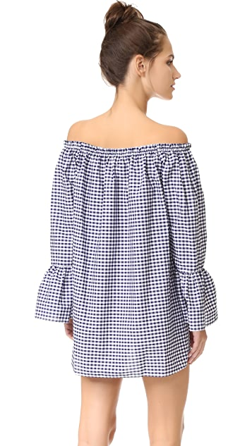 Amanda Uprichard Off Shoulder Flare Sleeve Dress