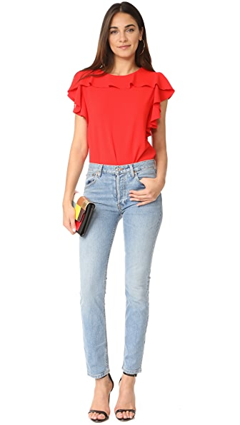 AMANDA UPRICHARD Colette Top in Candy Apple