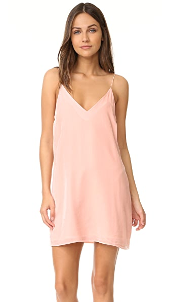 Amanda Uprichard Kendall Velvet Slip Dress - Blush