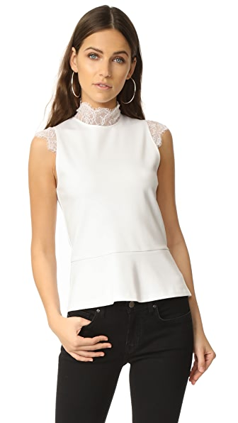 Amanda Uprichard Sleeveless Lace Mock Neck Top In White