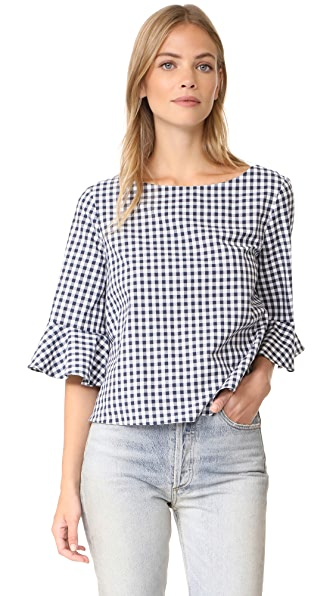 Amanda Uprichard Alexia Top - Navy Gingham