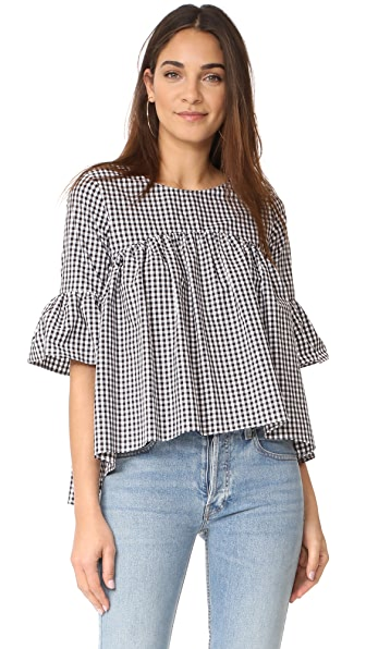 Amanda Uprichard Imogen Top - Black & White Gingham