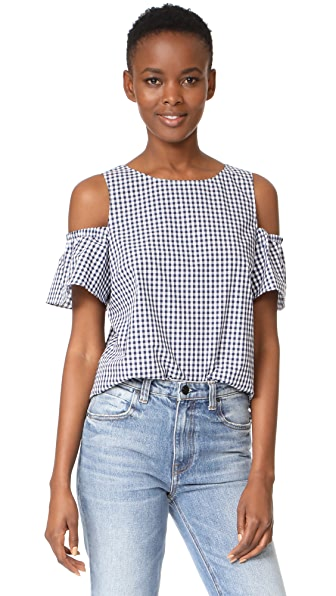 Amanda Uprichard Dryden Top - Navy Gingham