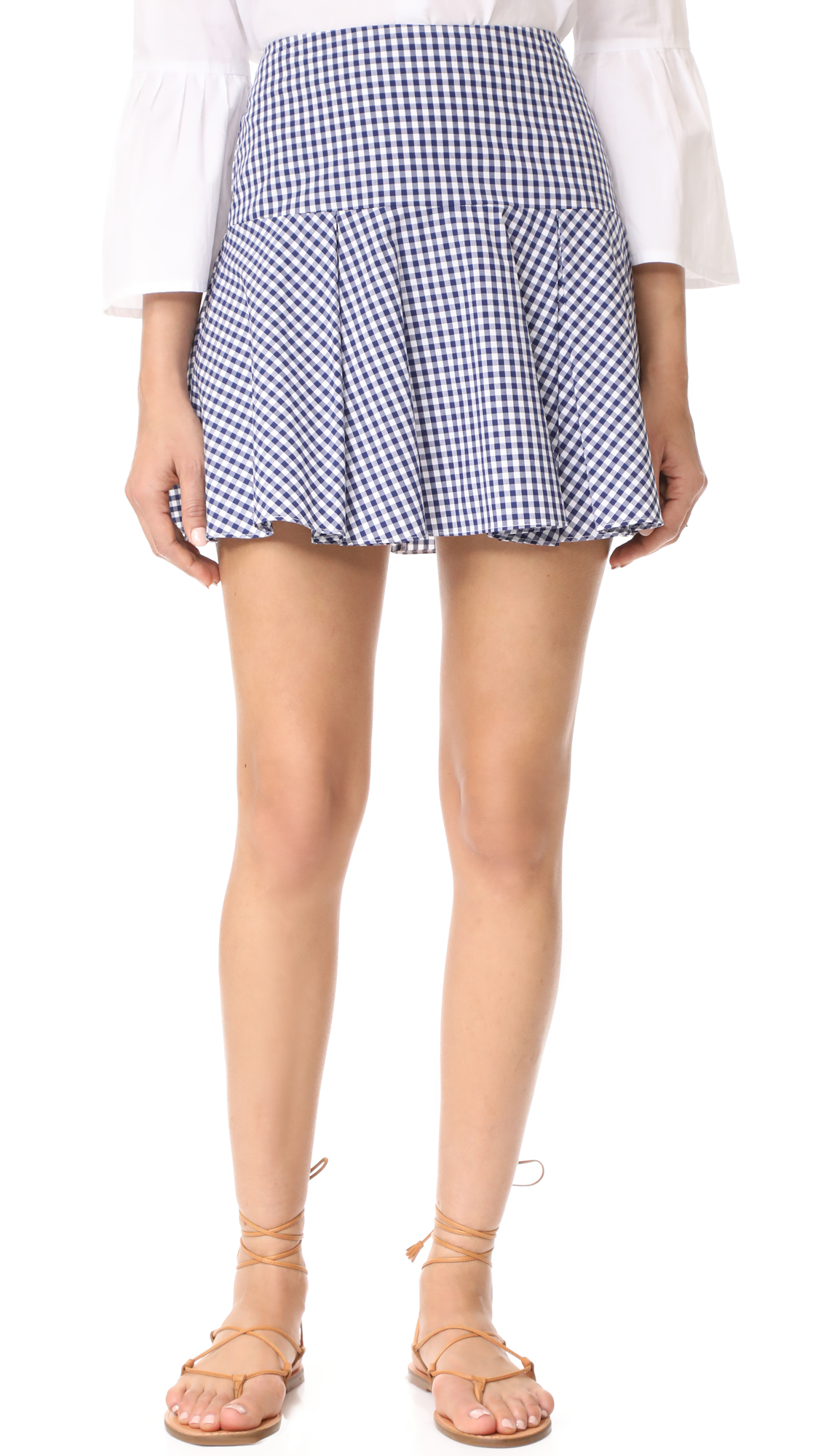 Amanda Uprichard Eastwood Skirt - Navy Gingham