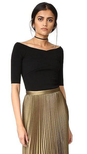 Autumn Cashmere Crisscross Off Shoulder Sweater - Black