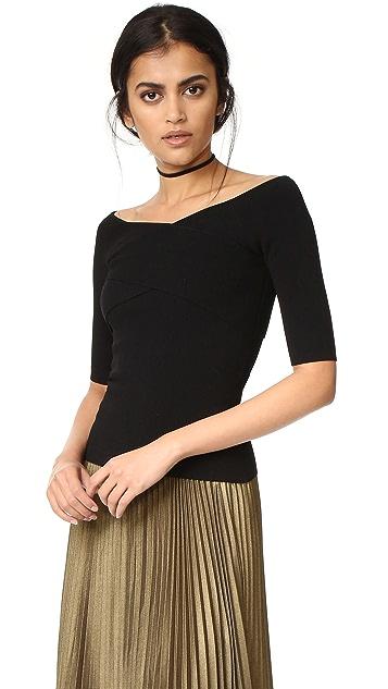 Autumn Cashmere Crisscross Off Shoulder Sweater